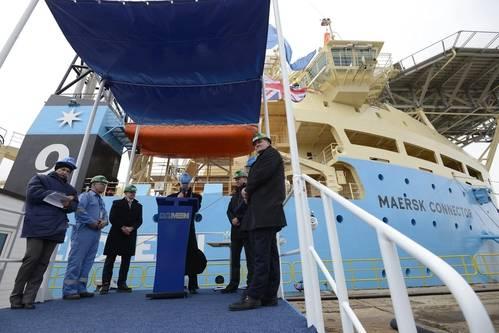 Christopher E. van der Stelt, Managing Director of Damen Shipyards Galati speaks during the handover ceremony of the Maersk Connector. Photo: Damen