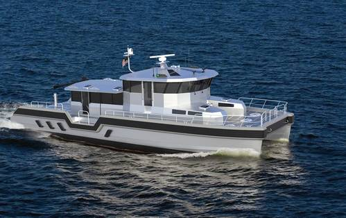 The 75' Endurance catamaran is one of the vessels to be built at Metal Shark's new facility, which will support the company's aluminum and steel shipbuilding operations for vessels up to 250'. (Photo courtesy of Metal Shark)