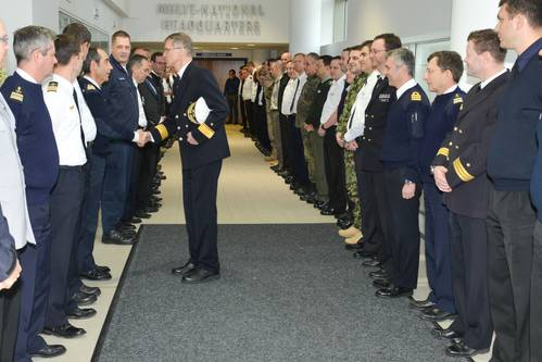 Outgoing Deputy Commander Rear Admiral Martens shakes hand with members of the Operational HQ Staff (Photo courtesy EU NAVFOR)