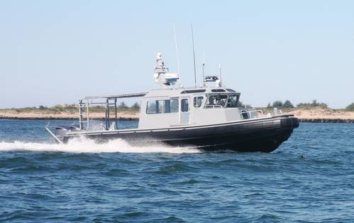 North River Boats delivered the first eight of nine, 36' U.S. Navy Force Protection Large Harbor Security Patrol Boats.