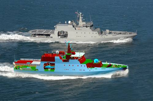 Photomontage of a patrol vessel and its FORAN 3D model