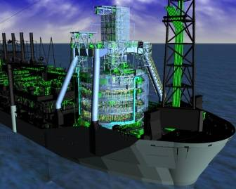 Rendered image of  the FPSO TMS to be deployed on BP's Quad 204 development, as designed and manufactured by SBM, (image supplied by SBM).