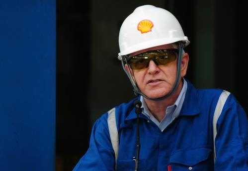 Shell Projects & Technology Director Matthias Bichsel at the first steel cut ceremony for the game-changing Prelude floating liquefied natural gas project's substructure. (Photo: Shell)