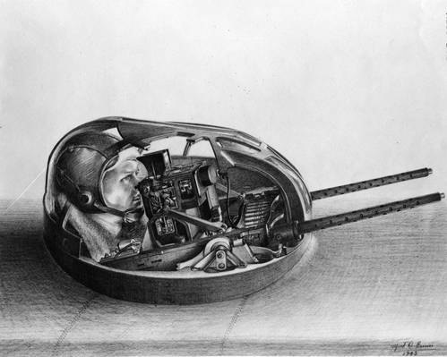 Sketch of gunner in Sperry airplane upper machine gun turret, 1943.  (Photo: Hagley Museum and Library)