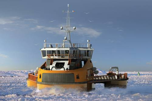 "Aker Arctic is working with Finnish naval architects Mobimar on a trimaran icebreaker, which is actually a single hull ship with two side hulls.  ""It creates a channel twice as wide without increasing the power requirement,"" Niini said. © Aker Arctic Technology Inc."