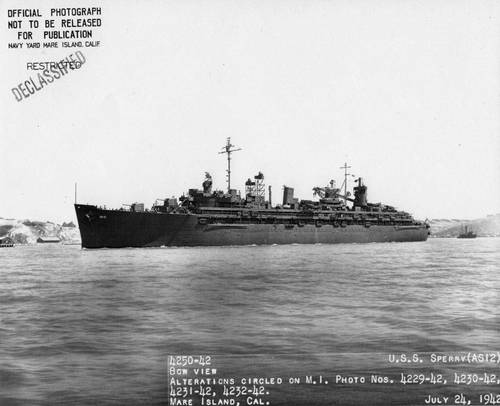 """It is safe to say that no one American has contributed so much to our naval technical progress.""  Then Secretary of the Navy Charles Francis Adams III, upon Sperry's death. USS Sperry (AS-12), named after Elmer A. Sperry,  departing Mare Island, July 24, 1942. (Photo: U.S. Navy)"