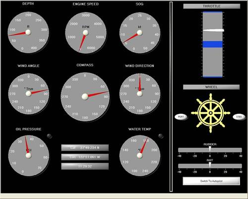 screen shot of the Virtual Steering Stand software that is part of the system