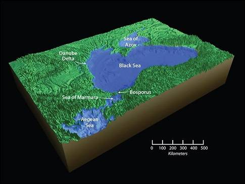 The breach of the Bosporus sill connected the Black Sea to the Sea of Marmara and the world ocean. As glaciers melted and global sea levels began to rise, the Black Sea also rose, bringing it to its present day level. (Jack Cook, Woods Hole Oceanographic Institution)