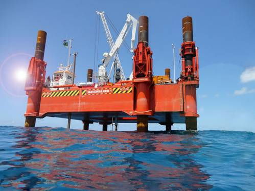 WaveWalker on site in Suape outer channel, Brazil