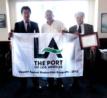 At the Vessel Speed Reduction Award ceremony. From left to right: Mitsui O.S.K. BULK SHIPPING (U.S.A.) INC. (MOBUSA) Assistant General Manager Seiji Kawada, LA Harbor commissioners Vice President Mr. David Arian MOBUSA Vice President Nobuo Tsuboi