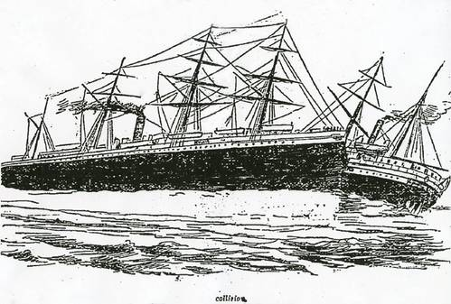 Newspaper illustration of the collision between RMS Oceanic and SS City of Chester (Credit: Illustration: San Francisco Chronicle)