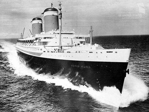 SS United States on her sea trials, June 10, 1952. Here she reached her highest recorded speed ever, 38.32 knots (44.1 mph). This is the greatest speed ever achieved by an ocean liner before or since. Photo courtesy of Charles Anderson and the SS United States Conservancy.