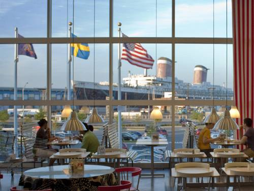 The SS United States seen from the upper windows of the South Philadelphia IKEA. (Credit: SS United States Conservancy)