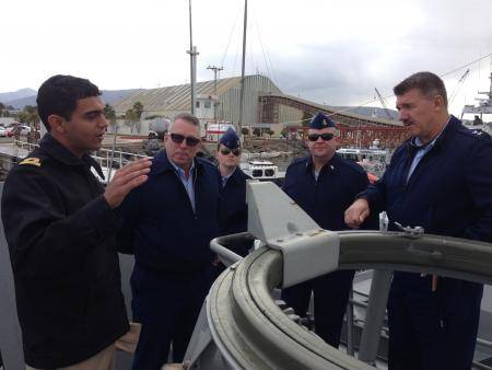 Members of the 11th Coast Guard District take a tour of the Naval Vessel Monasterio, a Mexican Naval ship, in Ensenada, Mexico, Thursday, Dec. 5, 2013. The trip was in part of a joint two-day search and rescue exercise with members of the Mexican Navy. U.S. Coast Guard photo.