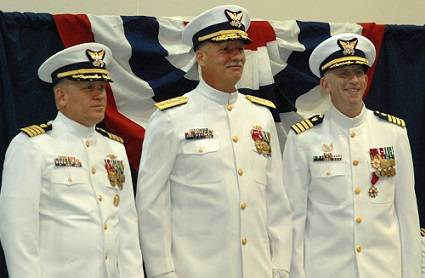 Captain George Lesher (left) assumed command of the Coast Guard Yard from Captain Richard Murphy (right). Rear Admiral Ronald Rábago (center), Assistant Commandant for Engineering & Logistics, U.S. Coast Guard, presided over the Change of Command ceremony. (Official USCG photo)