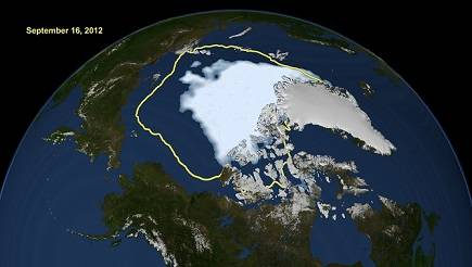 Satellite data reveals how the new record low Arctic sea ice extent, from Sept. 16, 2012, compares to the average minimum extent over the past 30 years. Credit: NASA/Goddard Scientific Visualization Studio.