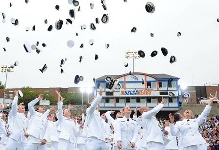 The Class of 2013 celebrates at the end of their commencement. U.S. Coast Guard photo by Petty Officer 2nd Class Patrick Kelley.
