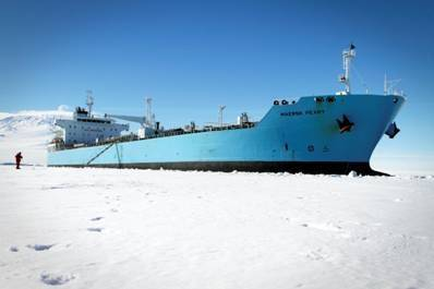 Maersk Peary in Antarctica: the U.S. flag ice-classed tanker replenishes fuel for residents at McMurdo Station, a research center of the National Science Foundation's U.S. Antarctic Program.