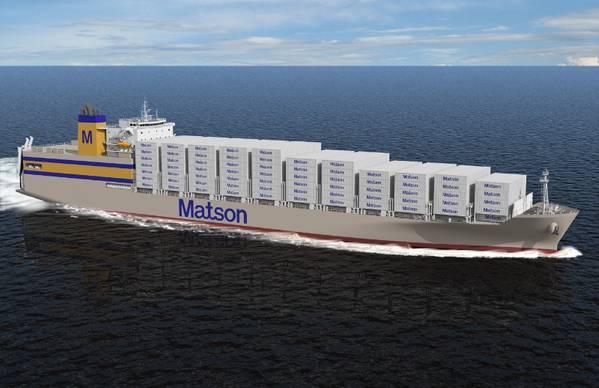 Εικόνα αρχείου: ένα πρόσφατο πλοίο Matson newbuild (CREDIT Matson)