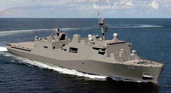 Μια γραφική απεικόνιση του μελλοντικού αμφιβίου πλοίου του Σαν Αντόνιο, το πλοίο USS Richard M. McCool Jr. (LPD 29). (Εικονογράφηση φωτογραφιών του Ναυτικού από τον Raymond D. Diaz III)