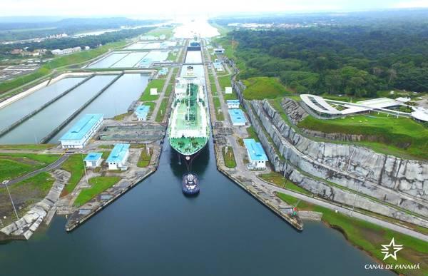 Το δεξαμενόπλοιο LNG Maria Energy ολοκλήρωσε την οδική κυκλοφορία από τον Ατλαντικό στον Ειρηνικό Ωκεανό στις 29 Ιουλίου. (Φωτογραφία: Αρχή του Καναδά του Παναμά)