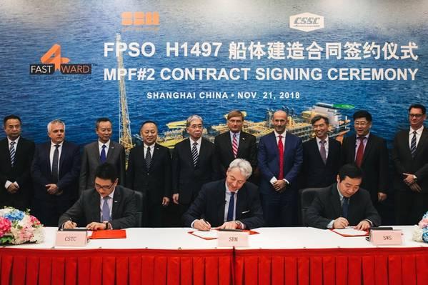 Η τελετή υπογραφής συμβολαίου πραγματοποιήθηκε στο ναυπηγείο SWS στις 21 Νοεμβρίου 2018 με εκπροσώπους της SBM Offshore, μεταξύ των οποίων οι Bruno Chabas (CEO), Bernard van Leggelo (Διευθύνων Σύμβουλος της Κίνας) και Srdjan Cenic (Γενικός Διευθυντής της Κίνας) , Πρόεδρος του συμβουλίου της CSSC και Wang Qi, πρόεδρος του διοικητικού συμβουλίου της SWS. (Φωτογραφία: Offshore SBM)