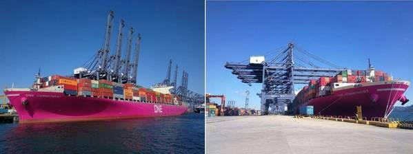 Первый в мире пурпурный контейнерный контейнер в порту Янтьян, Китай. Фото: Ocean Network Express (Восточная Азия). Ltd.