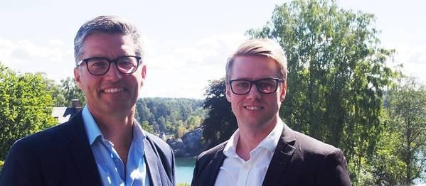 بيتر شرودر ، كبير المسؤولين الرقميين في ناقلات ميرسك وألكسندر ستينسبي ، المدير العام لشركة Klaveness Digital. الصورة: Klaveness Digital