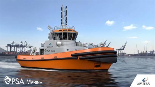 """ستقوم """"وارتسيلا"""" بتصميم وتجهيز واحدة من أحدث قوارب الميناء """"PSA Marine"""" (""""PSA Marine""""). (الصورة: فرتسيلا)"""
