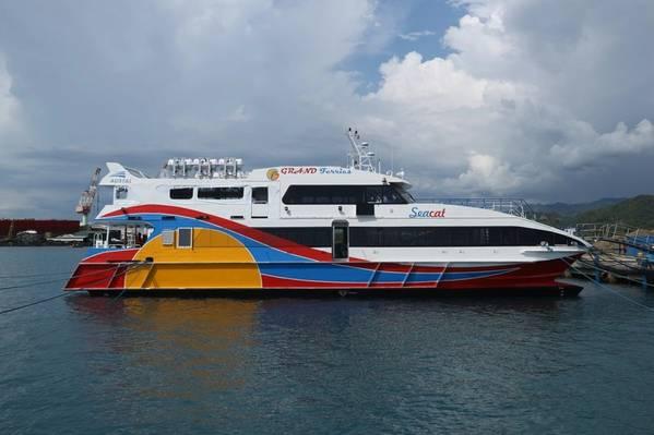 قدمت Austal Philippines تسليم Hull 420 ، وهو قارب سريع يبلغ طوله 30 مترًا يدعى MV Seacat ، إلى VS Grand Ferries في الفلبين (الصورة: Austal)