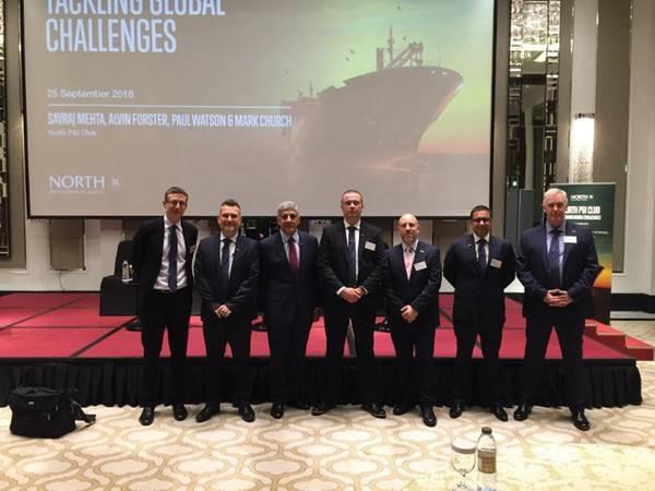 كانت العقوبات التجارية الجديدة ضد إيران وقواعد الوقود الجديدة التي تأتي في عام 2020 للقطاع البحري بأكمله هي العناوين الرئيسية لعقد ندوة استضافتها شركة التأمين البحري شمال P & I Club أمس في دبي في تاج دبي. الصورة: نادي شمال P & I.