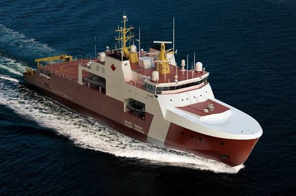 يعرض فنان يعرض التصميم المحتمل لسفينتي خفر السواحل الكنديتين البحريتين والبحريتين اللتين ستقامان في هاليفاكس لبناء السفن.