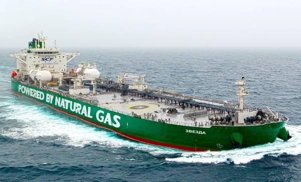 ग्रीन फनल टैंकरों (सौजन्य एससीएफ समूह) के एक ही वर्ग के पहले वितरित पोत