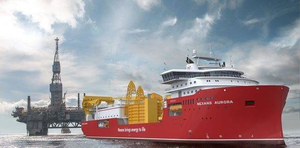 नेक्सन के नए केबल बिछाने के जहाज अरोड़ा (© Ulstein Verft AS)