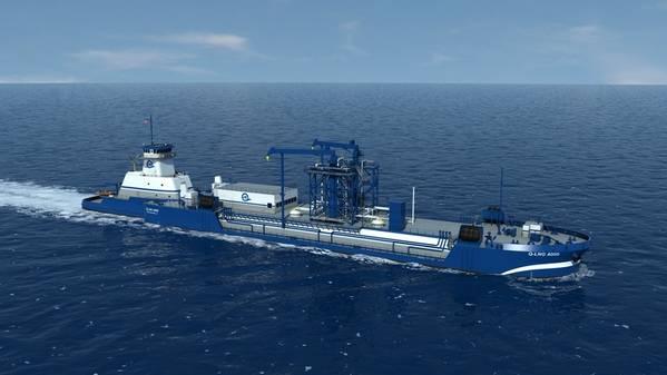 फ़ाइल छवि: हार्वे गल्फ के क्यू एलएनजी एटीबी बंकरिंग पोत का एक चित्रण। जब बनाया गया, तो यह जहाज, शेल से साझेदारी करने वाले, एलएनजी को वर्तमान में बनाए जा रहे नए एलएनजी / ड्यूल ईंधन क्रूज़ जहाजों के लिए प्रदान करेगा। क्रेडिट: हार्वे खाड़ी