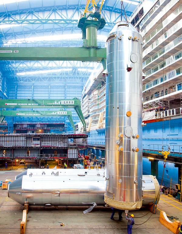 मेयर वेरफ़्ट में नार्वेजियन एस्केप ऑनबोर्ड पर स्थापना के लिए तैयार स्क्रबर्स। यारा समुद्री टेक्नोलॉजीज एएस / © मेयर वेरफ़्ट की तस्वीर सौजन्य
