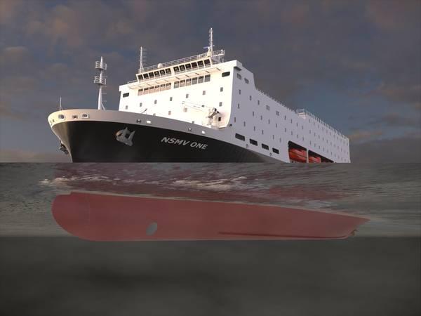 据报道,费城造船厂将有机会建造国家安全多艘船(NSMV)。图片:Marad&Herbert Engineering
