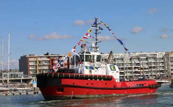 """2018年9月13日,在Ketug Smit Towage的一个Damen制造的拖船在Zeebrugge港举行的仪式上被命名为""""Southampton""""。 (照片:Kotug Smit Towage)"""