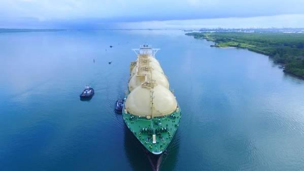 4月28日,巴拿马运河从美国运往日本,途中收到了Neopanamax LNG Sakura的首航。 (照片:巴拿马运河管理局)