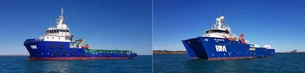 CMV Athos (izquierda) es un suministro de remolque con manejo de anclaje multipropósito (AHTS) / buque de apoyo offshore (OSV) de 65 metros, clase ABS. DP2 SeaMaster es un buque multipropósito ROV, Survey, Construction & Dive Support de 40M. Foto: Bhagwan Marine