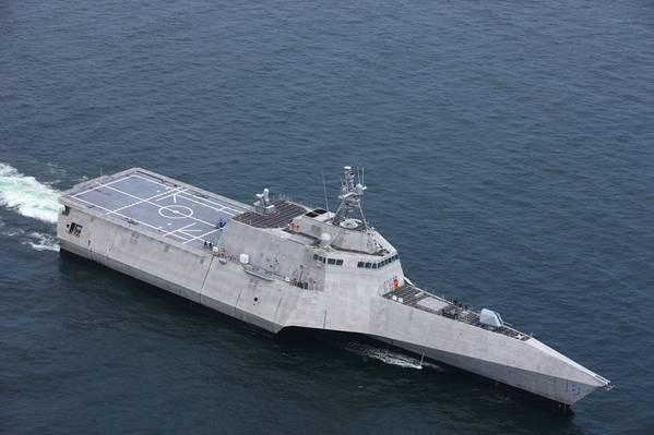 Charleston (LCS 18) será la tercera variante de independencia LCS que Austal entrega a la Marina de los EE. UU. En 2018, (Foto: Austal)