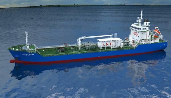 Das 7.990-dwt-Gebäude, das bald Marine Vicky heißt, wird der erste Bunkertanker für Singapur und Sinanju sein, der hauptsächlich mit LNG betrieben wird. (Bild: Sinanju Tankers Holdings)