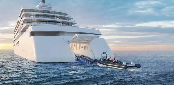 ENTREGA DO NOVO NAVIO VIKING: Esta renderização mostra como serão os novos navios da expedição Viking, incluindo o hangar para o lançamento de pequenas embarcações. Crédito: Viking