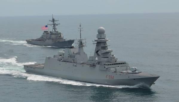El ITS Alpino recibe una escolta en Norfolk del USS Gonzales. Foto: Fincantieri Marinette Marine