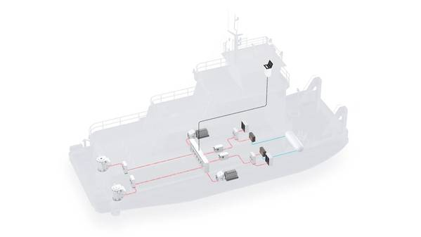 Ilustración del concepto de un barco de empuje impulsado por un sistema de celda de combustible (Imagen: ABB)