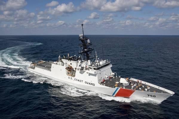Ingalls Shipbuilding sétima US Guarda Nacional de Segurança Costeira, Kimball (WMSL 756), durante testes no mar no Golfo do México. Foto HII