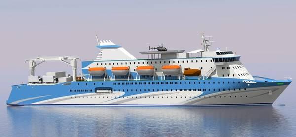 Representación del nuevo ferry de 1,200 pasajeros que se construirá en el Astillero Cochin en la India (Imagen: ABB)