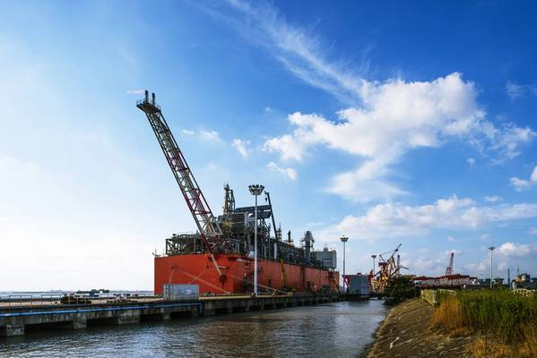 No ano passado, a Wison Offshore & Marine entregou o FLNG do Caribe em uma base de EPC após testes de desempenho de liquefação para a instalação em seu estaleiro na China. (Foto: Wison)