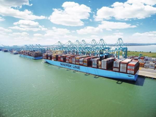 file Image: O Madri Maersk é um contentor de 20.568 TEUs, operado pela Maersk (CREDIT: Maersk)