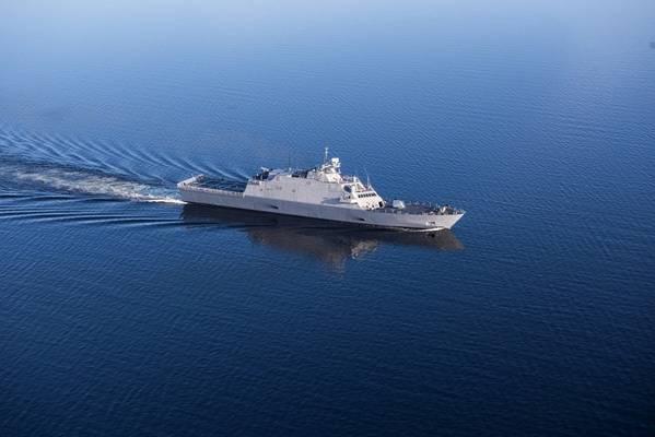 El futuro USS Sioux City (LCS 11) en curso durante los ensayos de aceptación (Foto: Lockheed Martin)